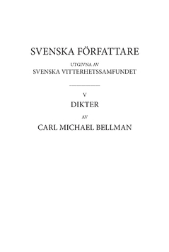 Dikter 2 : Fredmans epistlar, kommentarer av Carl Michael Bellman